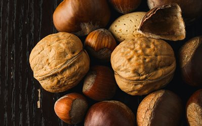 nuts, Walnut, hazelnuts, nuts on a wooden background, nuts concepts