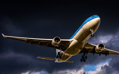 Flying A330, blue plane, airliner, clouds, Airbus A330, passenger planes, Airbus, A330