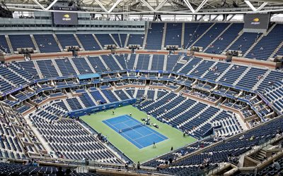 arthur ashe-stadion, tennis-stadion, new york city, usta billie jean king national tennis center, us open, main-stadion, tennisplatz, new york, usa, tennis