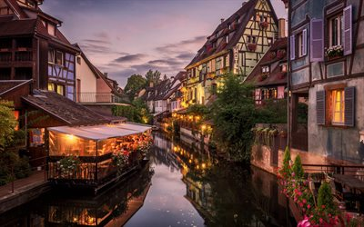 Colmar, Alsace, beautiful french city, evening, sunset, Colmar cityscape, Grand Est, Haut-Rhin, France