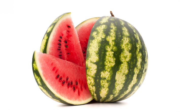 watermelon, ripe fruit, watermelon on a white background, summer fruit