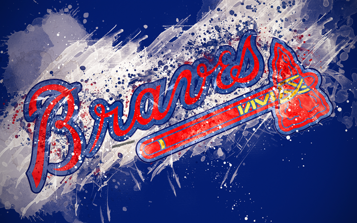 Download Wallpapers Atlanta Braves 4k Grunge Art Logo
