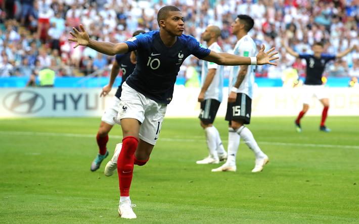 Télécharger fonds d'écran Kylian Mbappe, un but, un match, la France, l'Équipe Nationale, Mbappe ...
