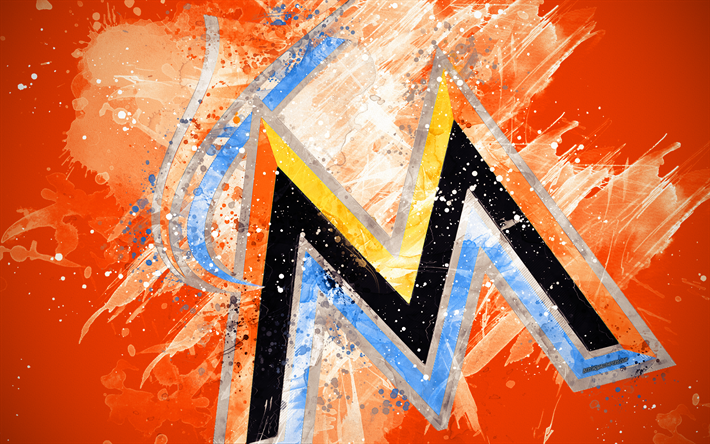 Miami Marlins 4k Grunge Art Logo American Baseball Club MLB
