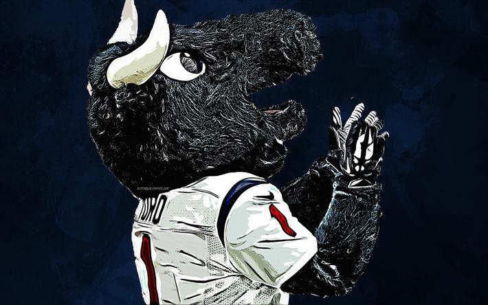 Scarica Sfondi Toro La Mascotte Ufficiale Houston Texans 4k Arte