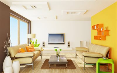 modern stylish living room, project, yellow wall, modern design, beige stylish leather sofas in the interior