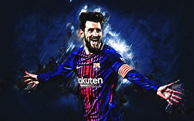 Lionel Messi, FC Barcelona, football star, portrait, Argentine footballer, striker, blue creative background, Catalonia, Spain, football