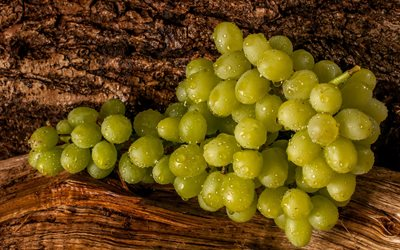 grapes, ripe fruit, white grapes, bunch of grapes, fruit, grapes on a wooden background