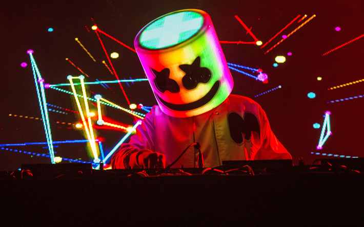 DJ Marshmello, night party, abstract art, Christopher Comstock, concert, Marshmello on stage, superstars, Marshmello, DJs, Marshmello in nightclub