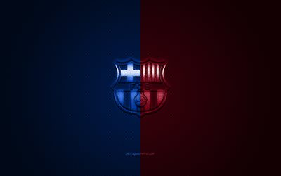 FC Barcelona, Catalan football club, blue maroon metallic logo, blue maroon fiber background, Barcelona, Catalonia, Spain, La Liga, football
