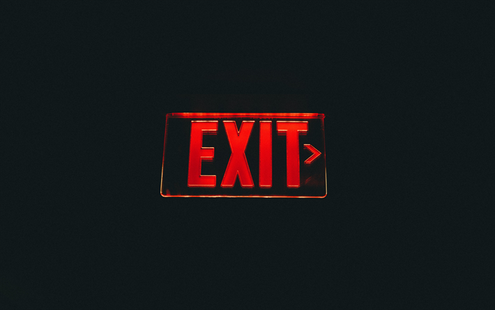 Exit sign, red neon sign, black background, creative art, exit concepts