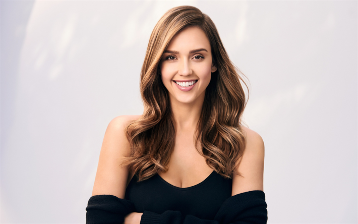 b1ecaede6349e Jessica Alba, portrait, smile, american actress, photoshoot, black dress,  beautiful