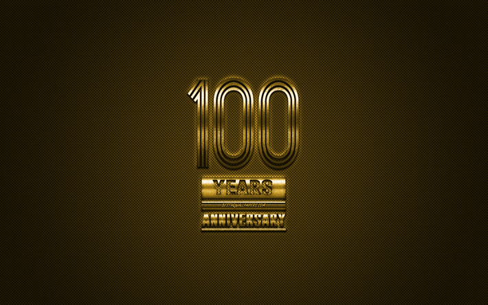 100 Anniversary, golden stylish symbol, golden 100th Anniversary sign, golden background, 100th Anniversary, creative art, Anniversary Symbols