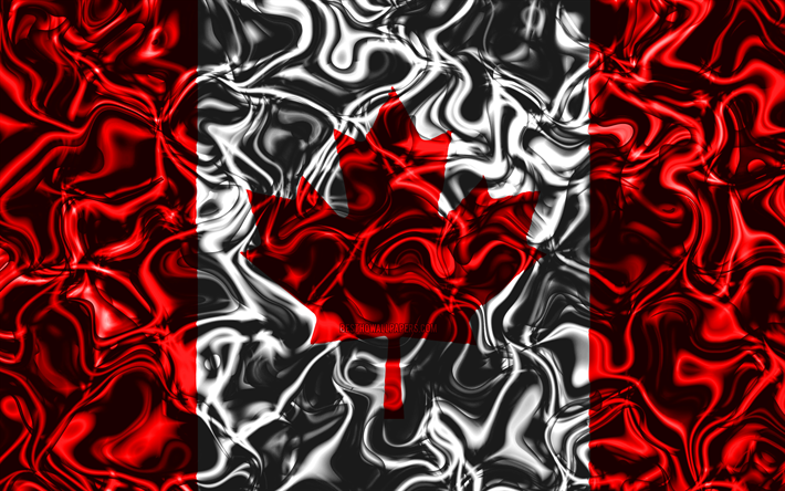 Download Wallpapers 4k Flag Of Canada Abstract Smoke
