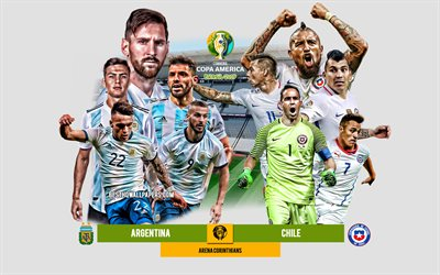 Argentina vs Chile, 2019 Copa America, promo, football match, team leaders, Brazil 2019, match for 3rd place, Arena Corinthians, Argentina, Chile