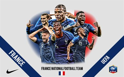 France national football team, logo, emblem, team leaders, UEFA, France, football, Antoine Griezmann, Kylian Mbappe, Paul Pogba