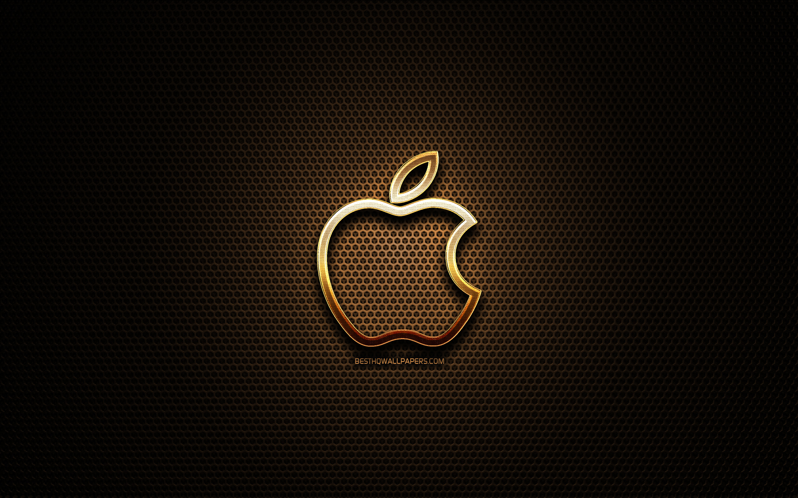 apple-linear-logo, artwork, metall gitter hintergrund apple logo, creative, apple