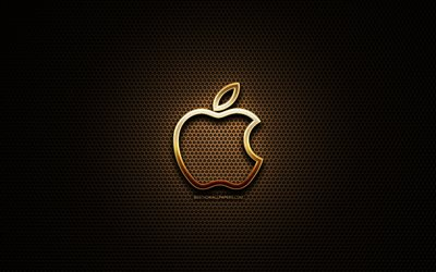 Apple linear logo, artwork, metal grid background, Apple logo, creative, Apple