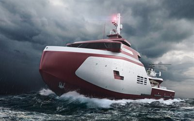 modern ship projects, lifeboat, storm, sea, waves, DavinceV8