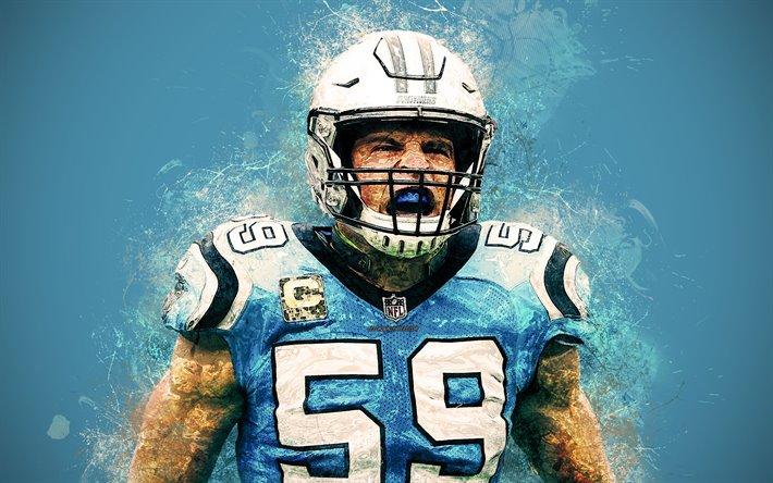 Luke Kuechly 4k NFL Paint Art Splashes Of Carolina Panthers