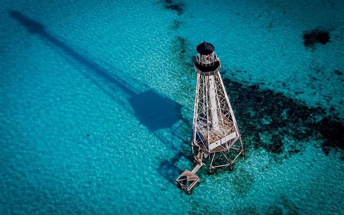 Alligator Reef Light, lighthouse, view from above, Alligator Reef, Florida, USA, United States
