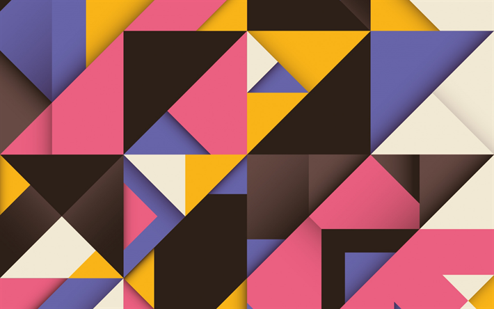 Download Wallpapers Retro Colorful Background Geometric