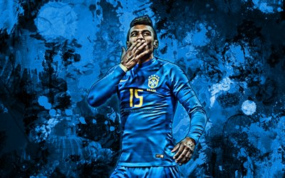 Paulinho, blue paint splashes, Brazil national football team, football stars, grunge art, soccer, Jose Paulo Bezerra Maciel Junior, Brazilian National Team, creative