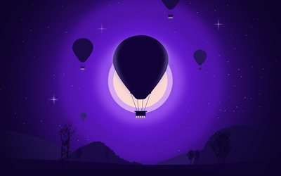 air balloon, 4k, night, moon, aircraft, hot air balloon, minimal, silhouette of air balloon