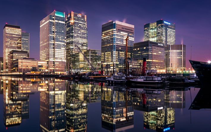 London, 4k, english cities, modern architecture, UK, United Kingdom, England, canary wharf