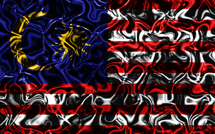 Download Wallpapers 4k Flag Of Malaysia Abstract Smoke