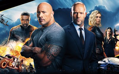 Fast Furious, Hobbs and Shaw, 2019, 4k, poster, all actors, promotional materials, Dwayne Johnson, Jason Statham