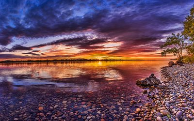 Columbia River, Nordamerika, HDR, sunset, vacker natur, British Columbia, Kanada