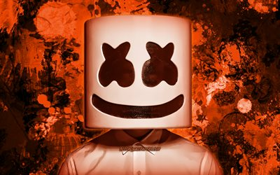 Christopher Comstock, orange paint splashes, DJ Marshmello, superstars, american DJ, grunge art, music stars, Marshmello, orange grunge background, DJs