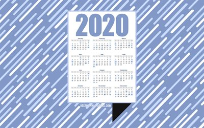 Blue 2020 Calendar, blue creative background, 2020 calendar, creative abstract art, lines blue background, calendar for 2020 year, concepts