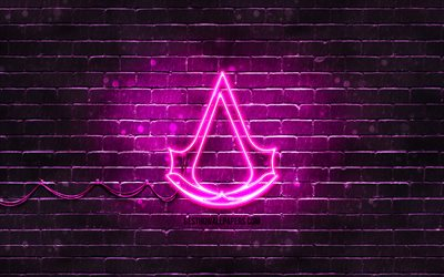 Assassins Creed purple logo, 4k, purple brickwall, Assassins Creed logo, 2020 games, Assassins Creed neon logo, Assassins Creed