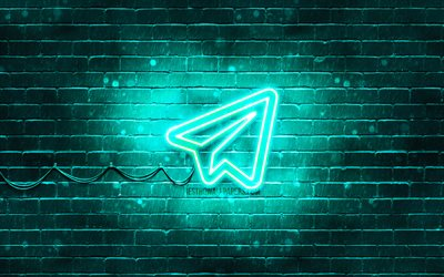Telegram turquoise logo, 4k, turquoise brickwall, Telegram logo, social networks, Telegram neon logo, Telegram