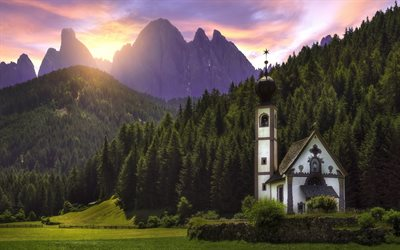 Santa Maddalena, 4k, mountains, sunset, church, Alps, Italy, Dolomites, Europe, beautiful nature