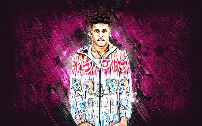 Download Wallpapers Nle Choppa Bryson Lashun Potts American Rapper Portrait Purple Stone Background Ynr Choppa For Desktop Free Pictures For Desktop Free