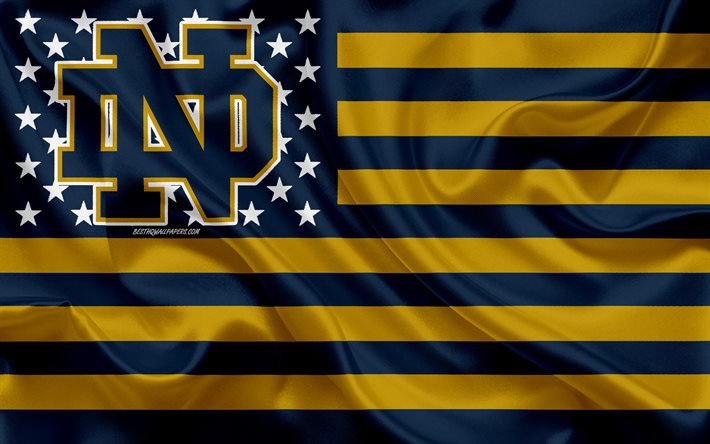 Download Wallpapers Notre Dame Fighting Irish American Football Team Creative American Flag Blue And Gold Flag Ncaa Notre Dame Indiana Usa Notre Dame Fighting Irish Logo Emblem Silk Flag American Football For