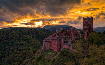 Saint-Ulrich Castel, Ribeauville, Chateau de Saint-Ulrich, evening, castles of France, ancient castle, forest, France