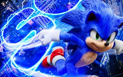 Sonic, lightings, Sonic The Hedgehog, 2020 movie, artwork, Blue Sonic