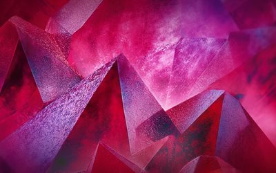 4k, triangles, piramid, geometry, 3d art, creative, pink background