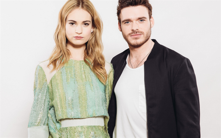 Lily James, Richard Madden, couple, actors, smile