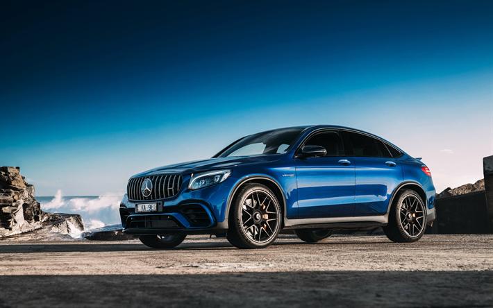 Télécharger fonds d'écran Mercedes GLC63 AMG, 2018, 4Matic, 4k, bleu nouveau GLC-Classe, roues ...
