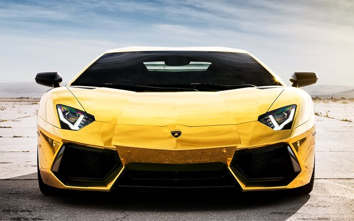 Download Wallpapers Lamborghini Aventador Lp 700 4 Gold Lamborghini Front View For Desktop