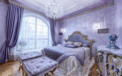 luxury bedroom interior, classic bedroom, violet bedroom, bedroom design