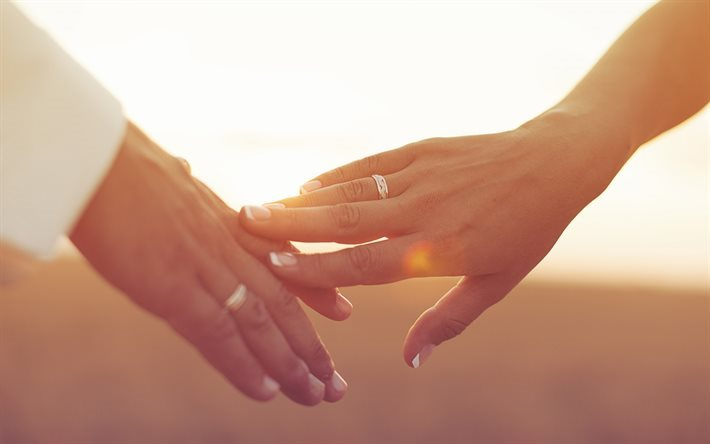 couple in love, hands, wedding, wedding ring