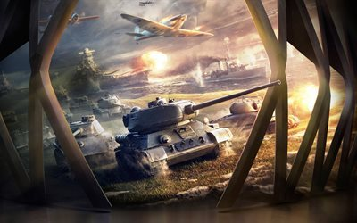 World of Tanks Blitz, 5K, tanks, WoT