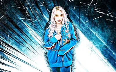 4k, Billie Eilish, blue abstract rays, american singer, music stars, grunge art, american celebrity, Billie Eilish Pirate Baird OConnell, superstars, Billie Eilish 4K