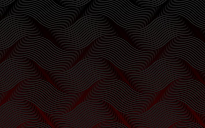 black abstract waves, 4k, 3D textures, black wavy background, waves textures, background with waves, black backgrounds